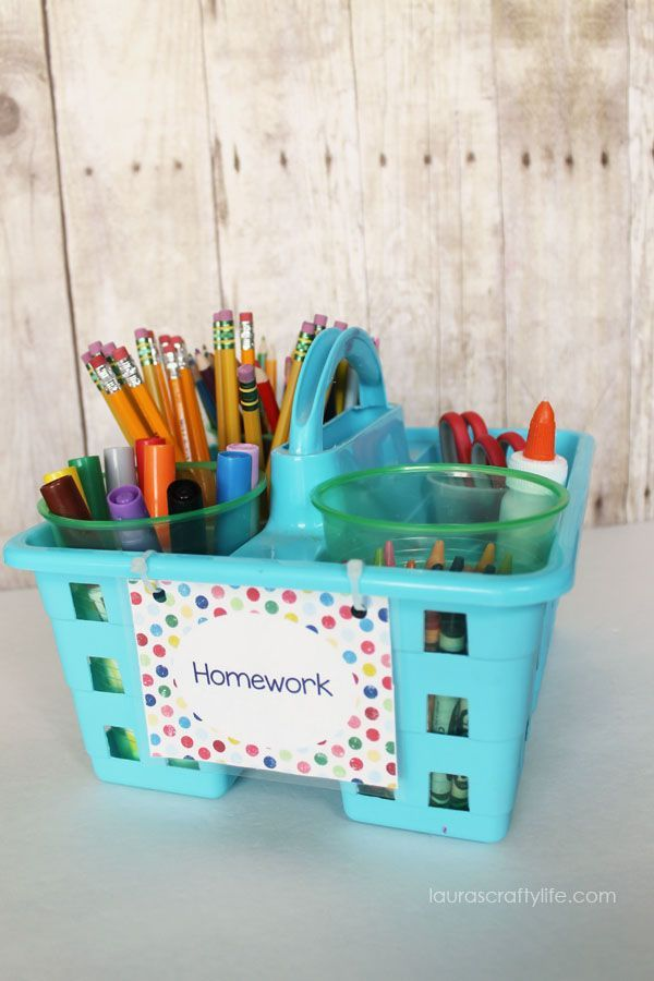 Cute Homework Caddy for Easy Organization, works for containing arts and crafts supplies too!