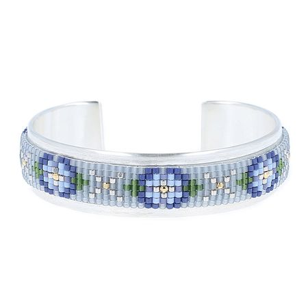 Blue Mix Floral Beaded Cuff