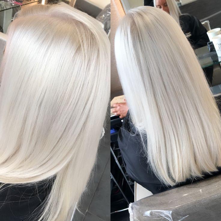 2018 Glattes Haar Olaplex Platinum Silver5 Hairsalon Helles Ombre Haar In 20 G Hair Styles Ice Blonde Hair Platinum Blonde Hair