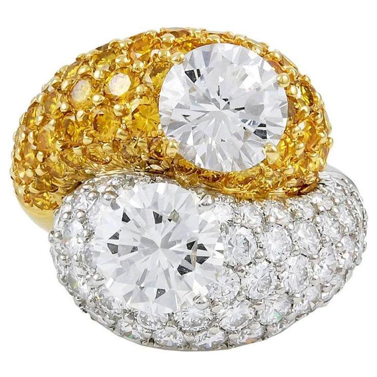 VAN CLEEF & ARPELS White and Yellow Diamond Ring 1
