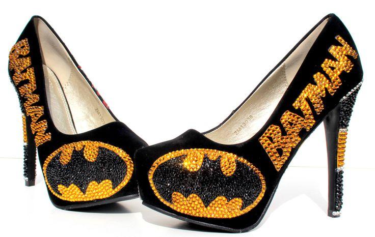 Batman+Heels+with+Swarovski+Crystals+and+by+WickedAddiction,+$175.00