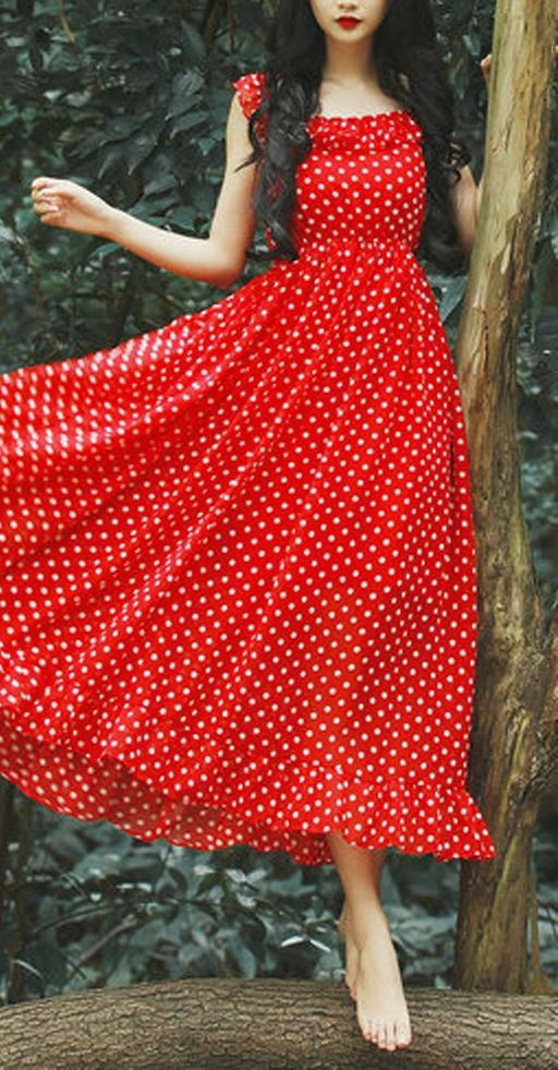 Red, Polka Dot Maxi Dress. Reminds me of something fairytale like snow white.