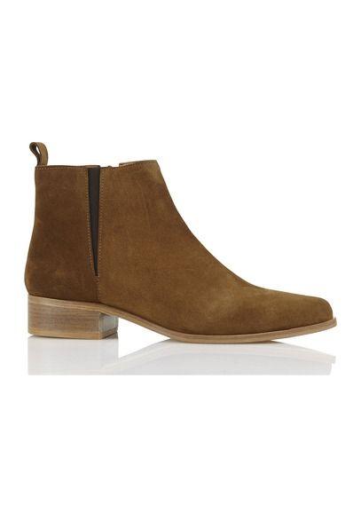 Boots plates en croûte de cuir Tess Marron by ANTHOLOGY PARIS