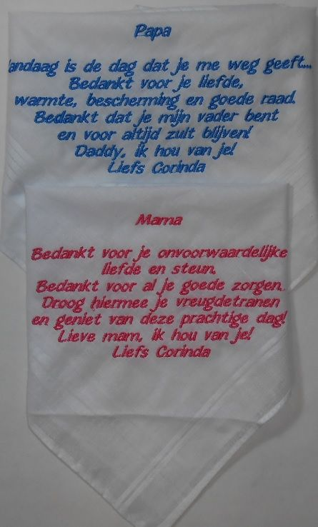 Zakdoek voor bruiloft met tekst wedding http://www.bruiloftzakdoekje.nl/