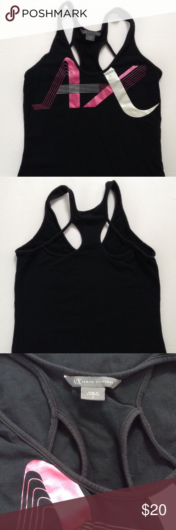 Armani Exchange Tank Top Good condition Armani Exchange black halter style tank top- great for workouts. Black color with with pink/with brand design. A/X Armani Exchange Tops Tank Tops