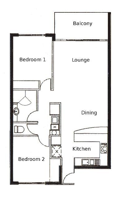 33 best floorplans images on pinterest for Small two bedroom apartment floor plans