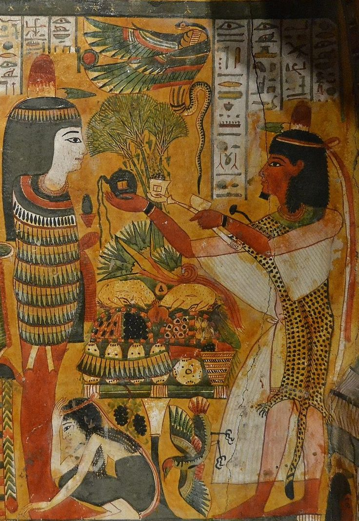 "detail from the interior of the coffin of Djemut, ""Chantress of Amon-Ra King of the Gods"" and ""Wet Nurse of Khonsu the Child""; from 'Uaset'-Thebes, XXI-XXII Dynasty (X-VIII century BCE). Now in the vatican museums… The 'Sem'-priest (wearing the..."