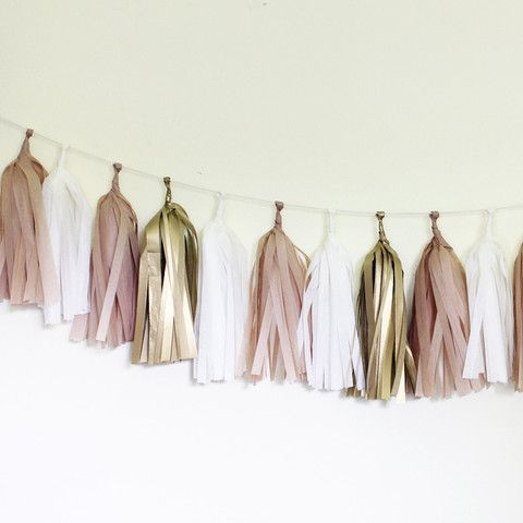 Golden Tissue Paper Tassel Garland