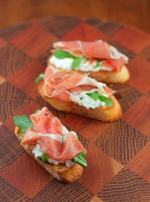 Arugula, Proscuitto, Homemade Ricotta Crostini, Italian Food Appetizers,