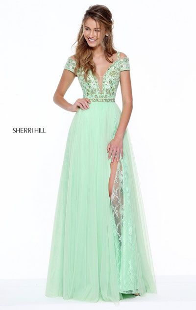 Floral Embroidered Bodice 2017 Cap Sleeves Light Green Sherri Hill 50874 Plunging V Neckline Pleated Long Chiffon Prom Dresses