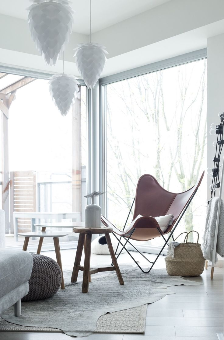 Vita Copenhagen - Vita Conia pendant lamps, Snowdrops Copenhagen vintage stool, B.K.F. Hardoy chair.