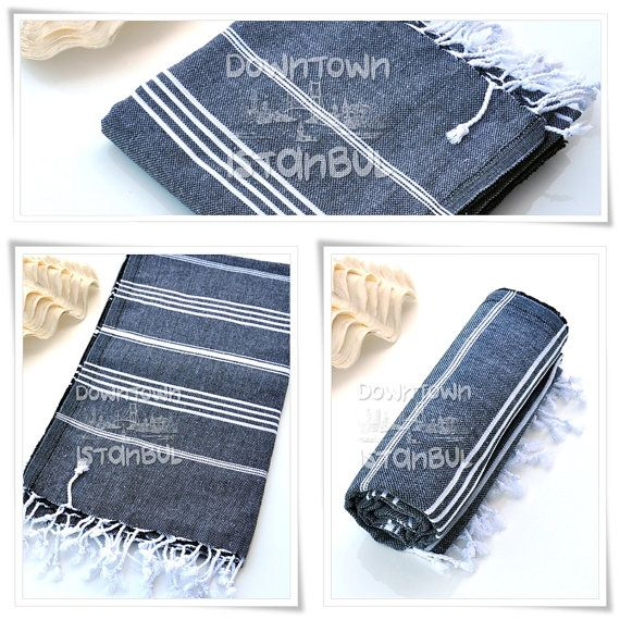 French Linen Towel SET of 3  Turkish Bath by DowntownIstanbul, $44.99