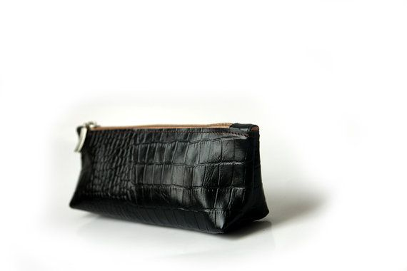Handmade Leather Pencil Case Pen Bag Black leather by PansyBag