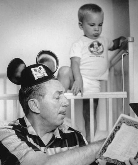 Walt Disney reads to his grandson | Rare and beautiful celebrity photos  (And don't you love he is wearing the Mouse Ears)
