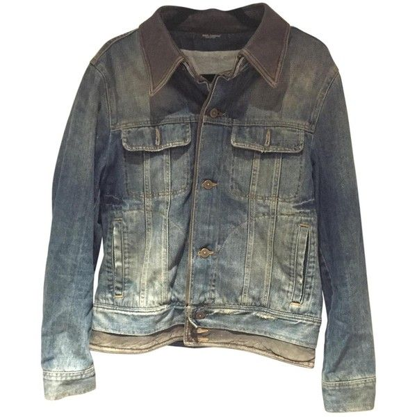 Pre-owned Dolce & Gabbana Dolce & Gabbana Denim Jacket ($263) ❤ liked on Polyvore featuring men's fashion, men's clothing, men's outerwear, men's jackets, men clothing jackets, navy, mens distressed leather jacket, mens navy jacket, mens distressed denim jacket and mens navy blue jacket