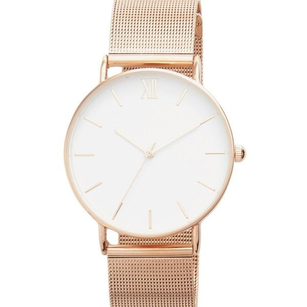Women's Topshop Look Mesh Strap Watch, 40Mm featuring polyvore, women's fashion, jewelry, watches, rose gold, pink gold jewelry, topshop jewelry, chain watches, rose gold jewelry and bezel watches