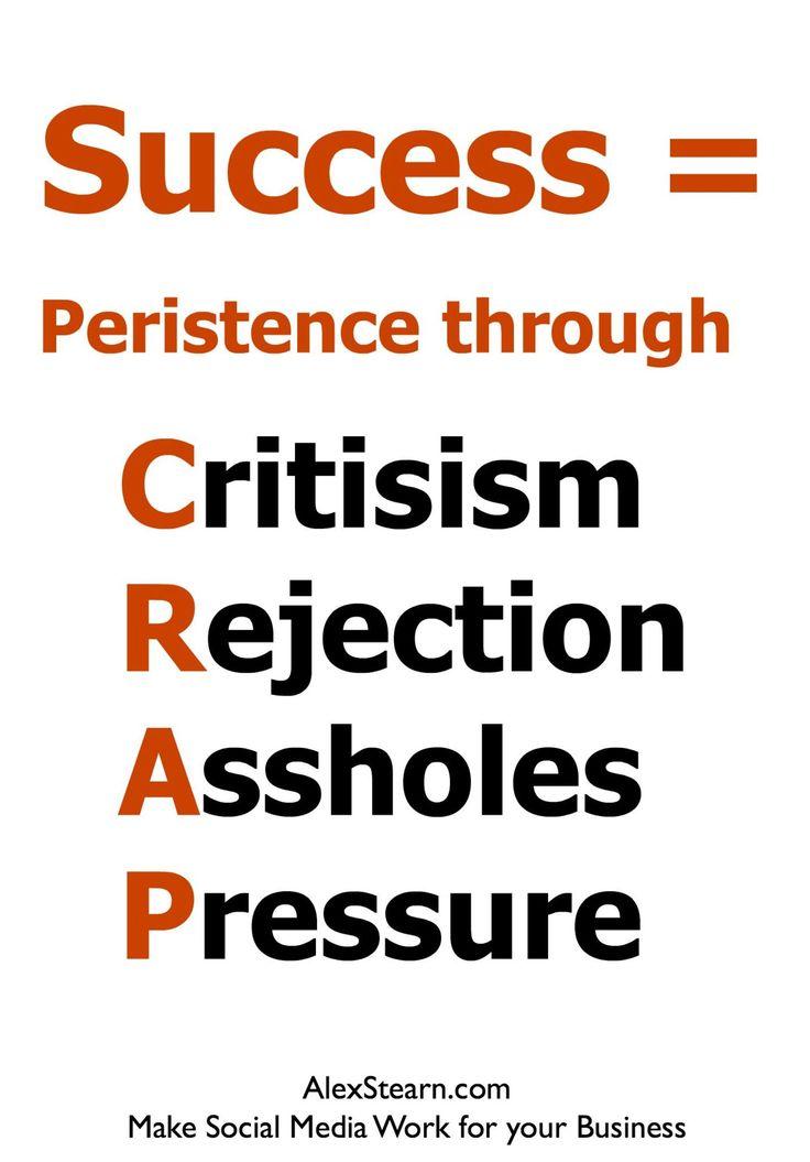Success = Persistence through CRAP Criticism Rejection Assholes Pressure