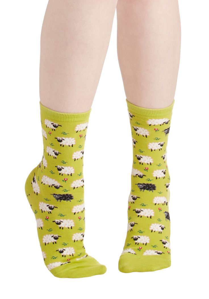 It's All Sheep to Me Socks. As soon as you slip your toes into these printed socks, you wont know how you ever made it so long without them! #green #modcloth