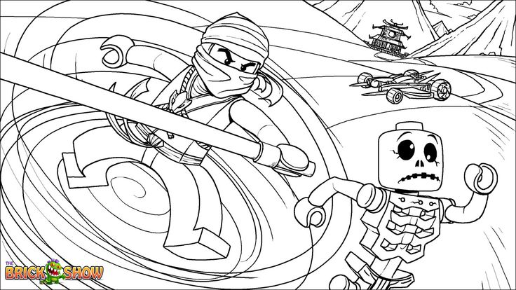 Printable coloring page for LEGO Ninjago Cole Fighting Skeletons.