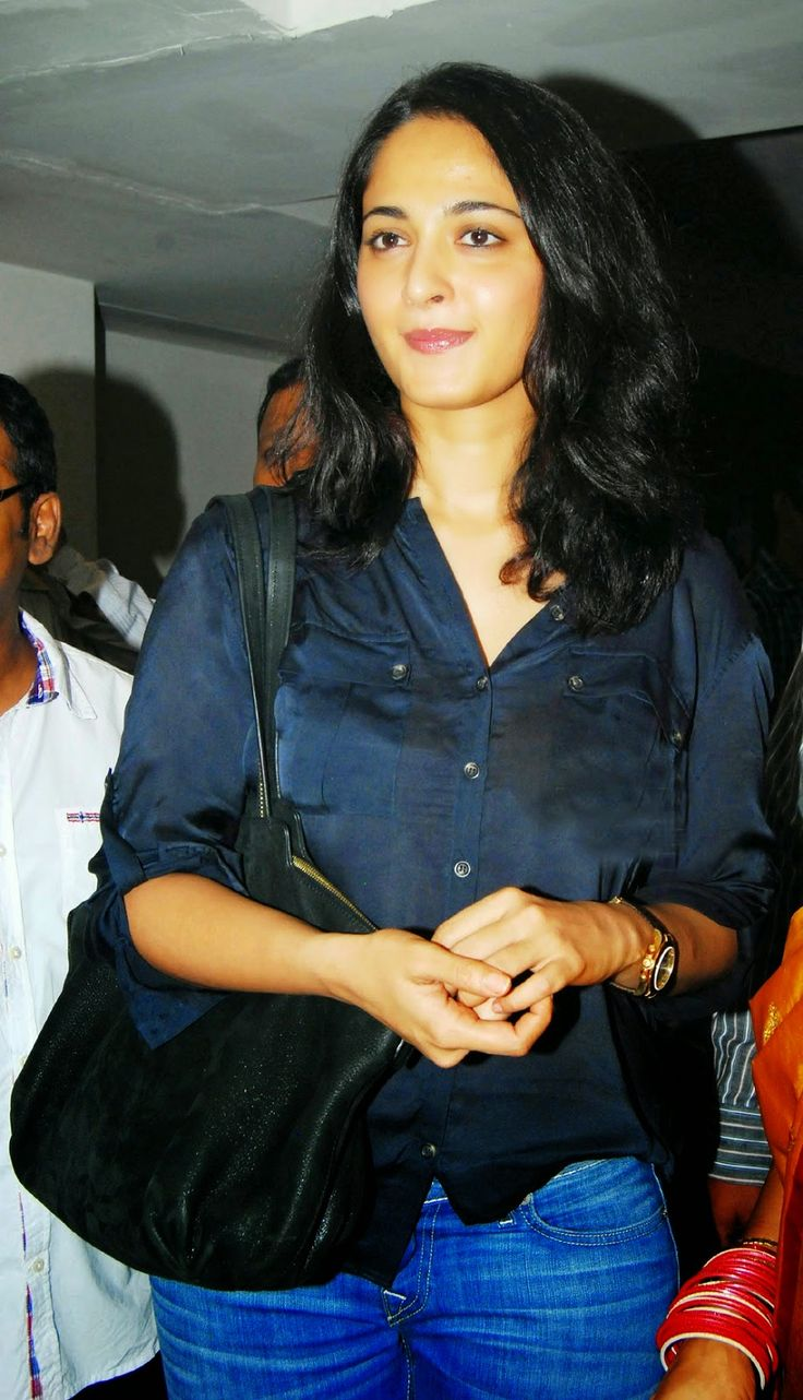Tollywood Actress Anushka Shetty In Transparent Blue Shirt Jeans