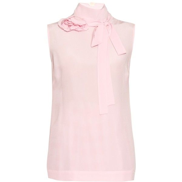 Rochas Corsage neck-tie crepe de Chine blouse found on Polyvore featuring tops, blouses, light pink, sleeveless tie neck blouse, neck ties, sleeveless tops, pink necktie and high neck sleeveless blouse