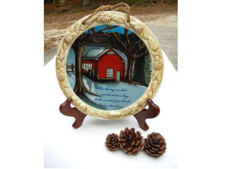 Lovely Decorative Plate with Winter Scene, by etsy store TheSandlapperShop