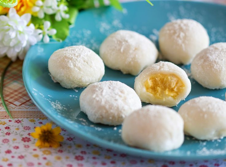 Durian mochi - a sweet snack for the durian lovers.