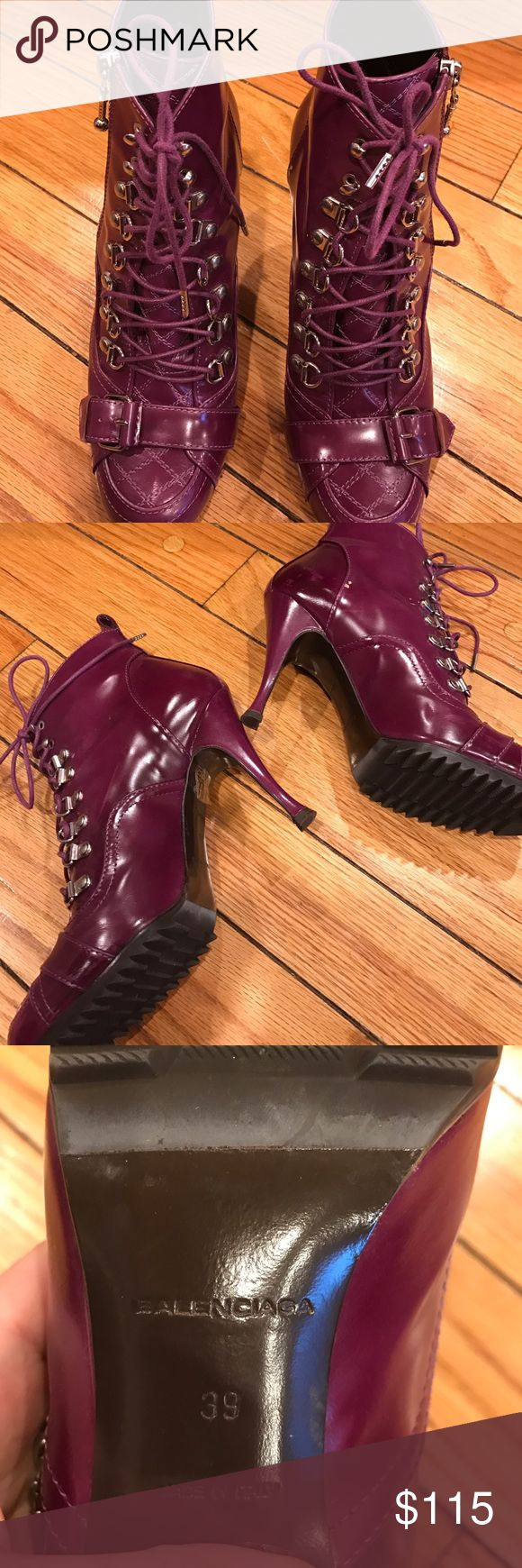 Balenciaga purple ankle boot size 39 Trendy lace up and buckle detail purple high heel ankle boots fits more like an 8.5 Balenciaga Shoes Heels