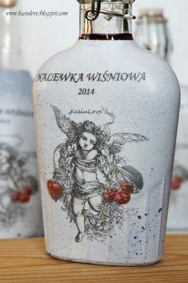 butelka decoupage z aniołem / upcyvling butelek / butelka na nalewkę wiśniową / upcycling bottles / bottles reuse idea / decoupage bottle