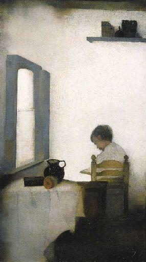 Jan Mankes - Lezende jongen in interieur