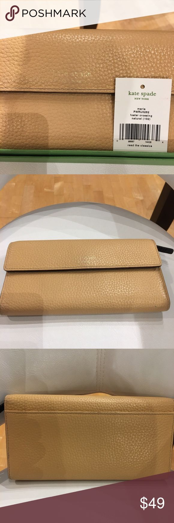 💋kate spade New York Tri-fold Kate Spade embossed leather wallet. Exterior beige leather (natural) interior brown leather. 6 long storage slots inside, zip coin slot & check holder. Box included. Overall condition of wallet great. Some wear of leather at edges & minor scratches inside.?Kate spade little hard to read front side. Box shows wear at edges & large spot on front. Style: Maria PWRU0262 foster crossing natural (102). kate spade Bags Wallets