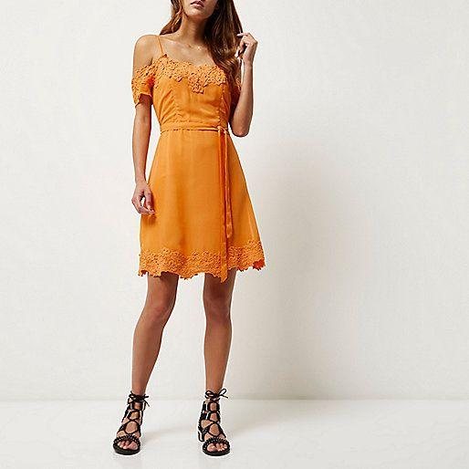 Orange lace detail festival dress