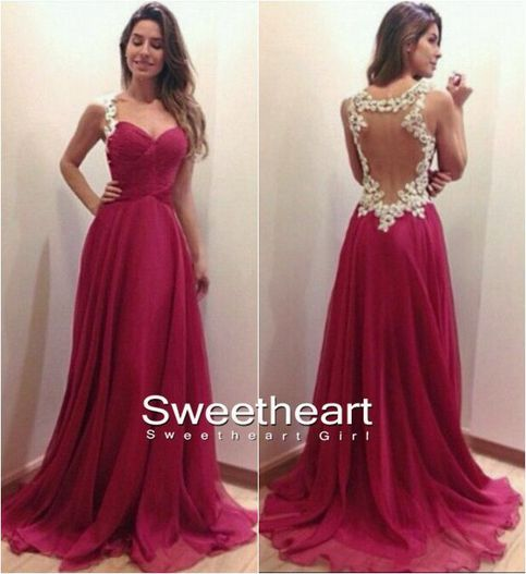 A-line Sweetheart Red Chiffon Long Prom Dresses, Evening Dresses $198