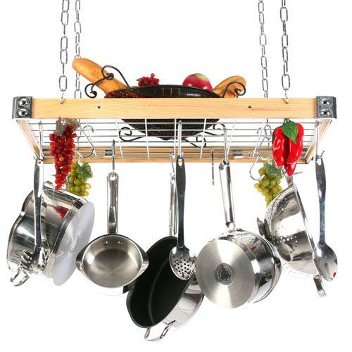 The Gourmet Wood and Metal Rectangle Pot Rack with Grid   from hayneedle.com