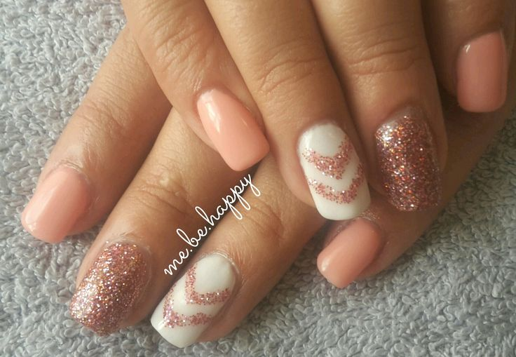 Acrylic with peach gel overlay. Logik gel. Crazy Salmon