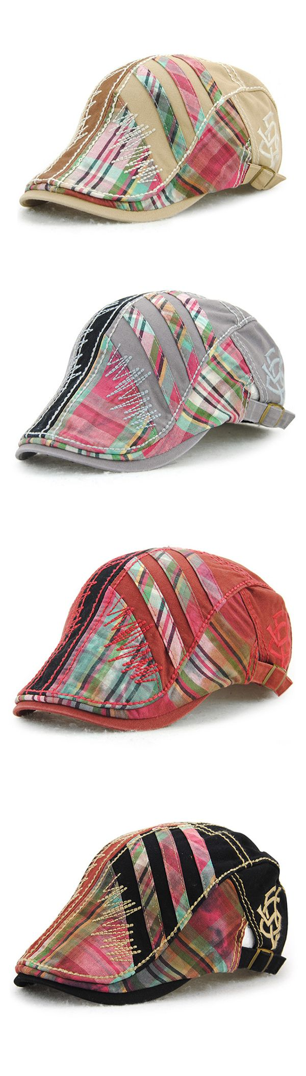 Cotton Washed Beret Cap: Lines Stripe / Adjustable Buckle