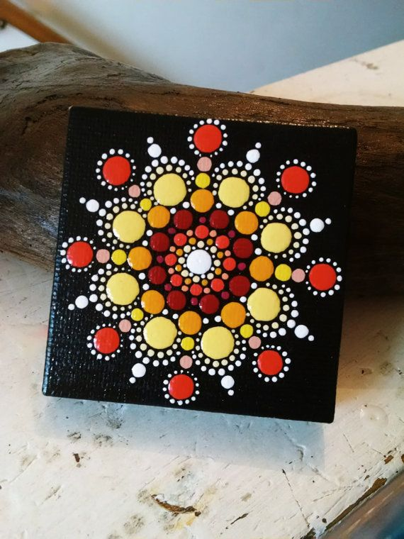 Original Hand Painted Mini Canvas ~ Colorful Dot Art Design ~ Unique Home Decor gift ~ Fall Flower Mandala ~ Tuscan Red, Coral, Yellow