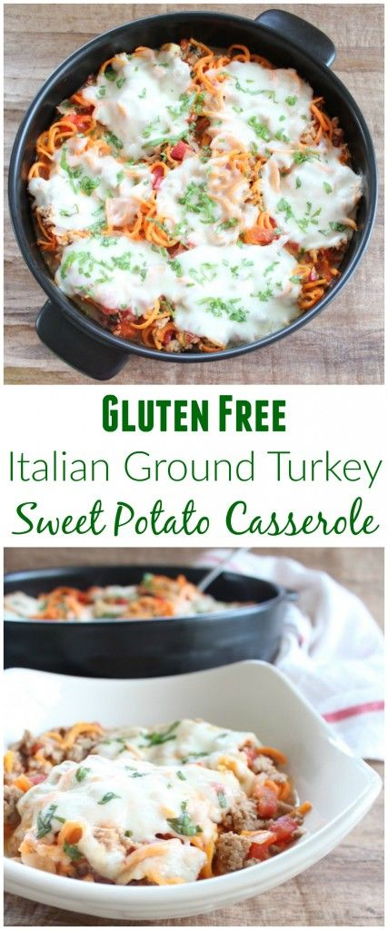 This Simple & Healthy Gluten Free Italian Turkey Sweet Potato Casserole is the perfect recipe for the new year! Spiralized sweet potatoes are combined with ground turkey, vegetables and spices for a delicious meal!