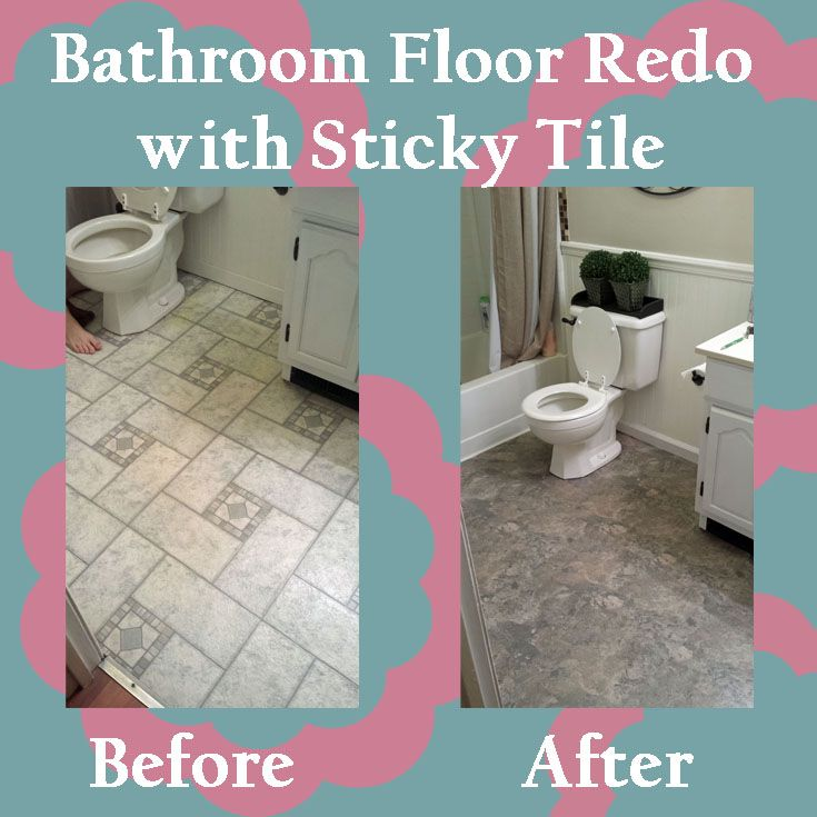 Bathroom floor redo using backer board and sticky tile. Super easy and cheap! Love it!