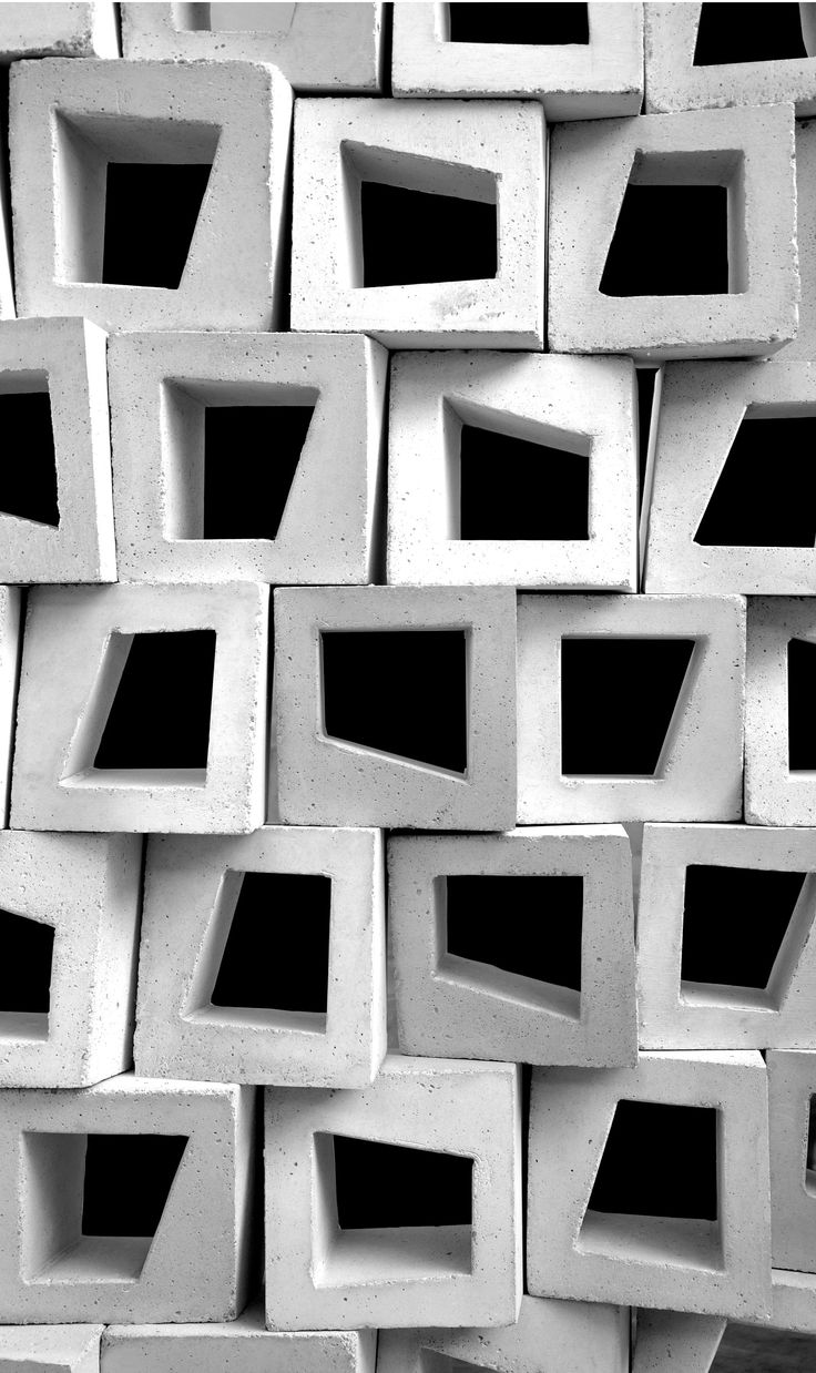 BLOCKS - layered, bricks, concrete, ventilation blocks, buildings, facades, repeat, geometrical, 60s wallpaper, pattern.