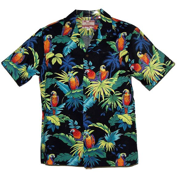 vintage 1960's -Nani of Hawaii- Men's Aloha shirt. Stylized tribal print on Polished Cotton. Bold coloration. Large - Extra Large KHWO3