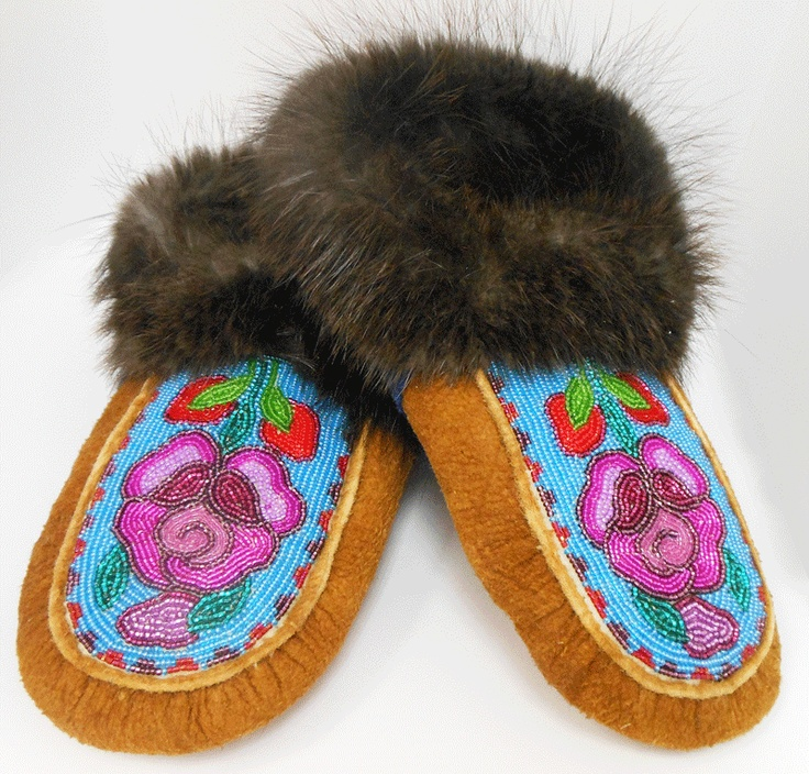 Moccasin Slippers made by Julie Lennie of Tulita, NT from the Norman Wells Historical Society Crafts Store.  Size 11 mens. $390. Available on www.tlicho.ca