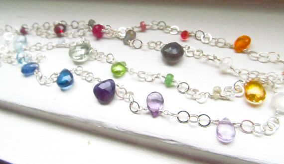 Rainbow necklace genuine gemstones long sterling by WynnDesign