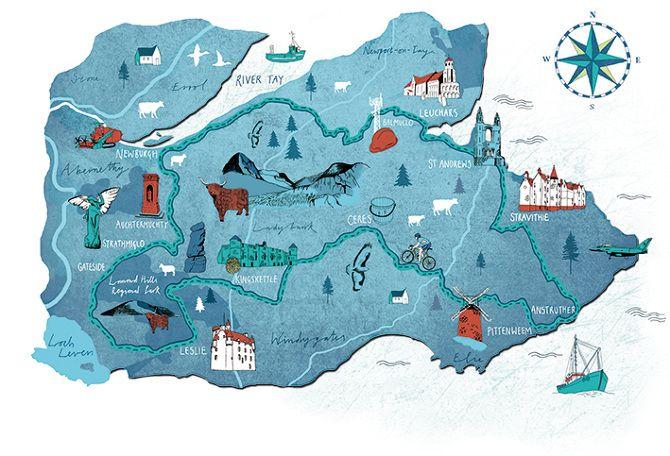 Cycling Plus Magazine - Fife map - Tonwen Jones
