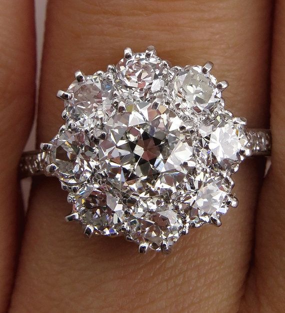 Reserved...1910s Colorless 2.72ctw Antique  OLD EUROPEAN Diamond Cocktail Cluster Wedding Engagement Platinum Ring, EGL on Etsy