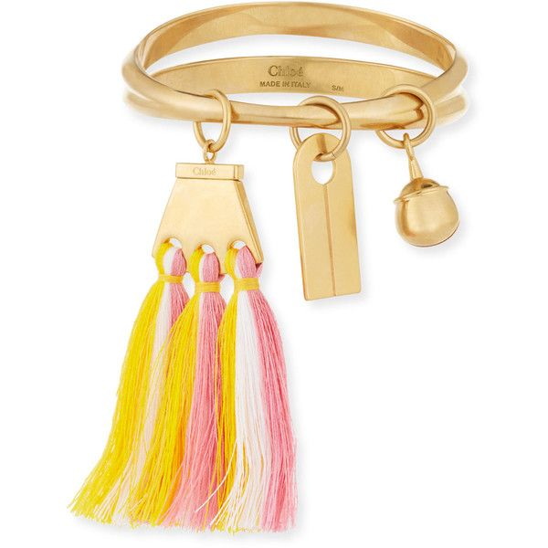 Chloe Janis Fringe Bangle Charm Bracelet ($640) ❤ liked on Polyvore featuring jewelry, bracelets, jewelry bracelets bangle, pastel pink, tri color bangles, pink bangle bracelet, charm bangle, colorful bangles and colorful jewelry
