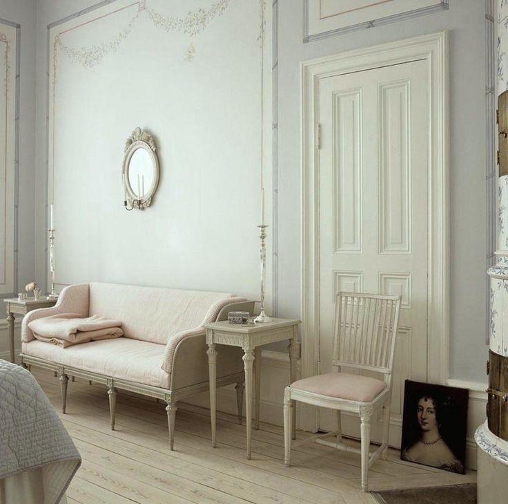 The Little Known Secret About Gustavian Swedish Style - laurel home | Gustavian Trågsoffa, via Skona Hem | lovely tone on tone soothing Gustavian Swedish #gustavian