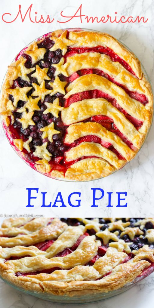 Pin it if you love America. Miss American Flag Pie Recipe celebrates Women's rights, the USA, and of course the love of pie. This easy recipe is the best red, white and blue dessert!