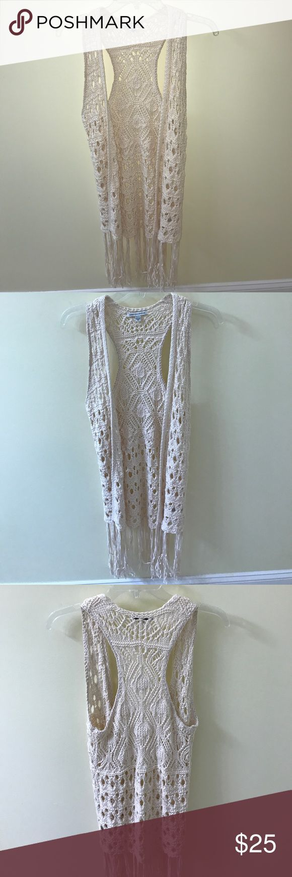 AEO crochet fringe cardigan AEO cream-colored crochet fringe sleeveless cardigan. Never worn. Perfect quality! Could also be worn as a swimsuit cover up! Size XS American Eagle Outfitters Tops