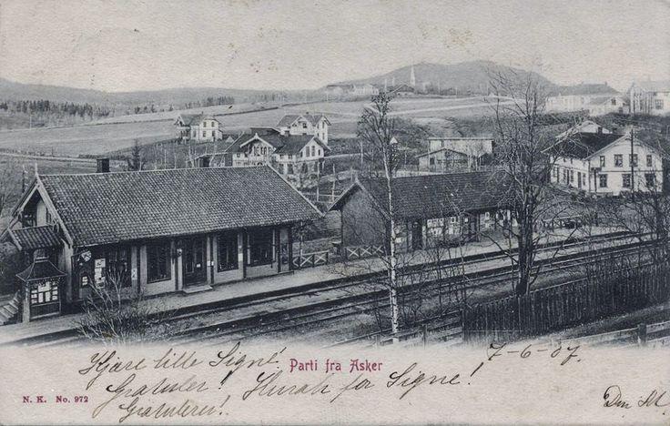 Asker jernbanestation Akershus fylke stp 1907 Foto: Normanns kunstforlag